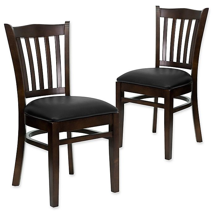Alternate image 1 for Flash Furniture Vertical Slat Back Chairs with Vinyl Seats (Set of 2)