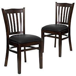 Flash Furniture Vertical Slat Back Chairs with Vinyl Seats (Set of 2)