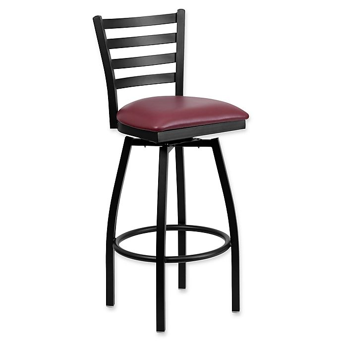 Flash Furniture Ladder Back Swivel Bar Stool In Vinyl Black Metal