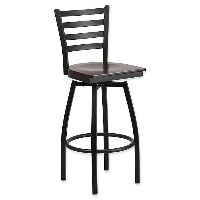 Alternate image 1 for Flash Furniture Ladder Back Swivel Bar Stool in Walnut Wood/Black Metal