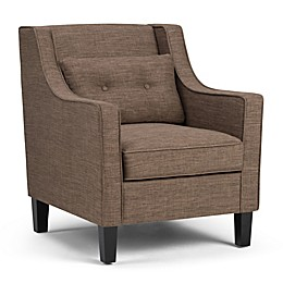 Simpli Home Ashland Upholstered Club Chair in Fawn Brown