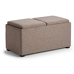 Simpli Home Avalon 5-Piece Storage Ottoman in Brown