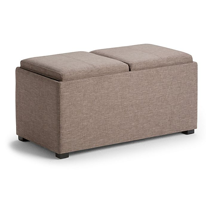 Alternate image 1 for Simpli Home Avalon 5-Piece Storage Ottoman in Brown