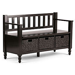 Simpli Home Dakota Bench in Dark Exeter Brown