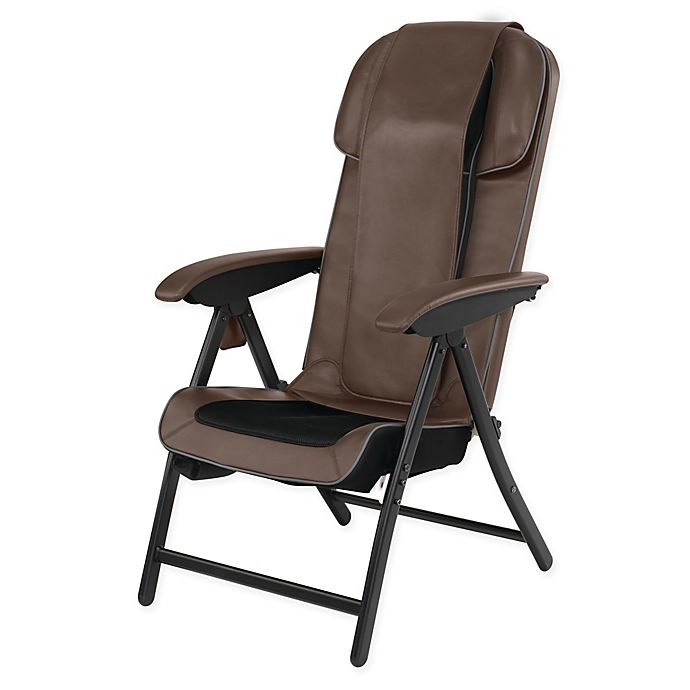 Alternate image 1 for HoMedics® Fold-Away Massaging Shiatsu Lounge Chair in Brown