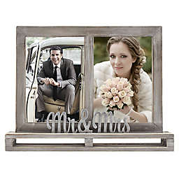 """""""Mr & Mrs"""" 2-Opening Decorative Wood and Metal Frame"""