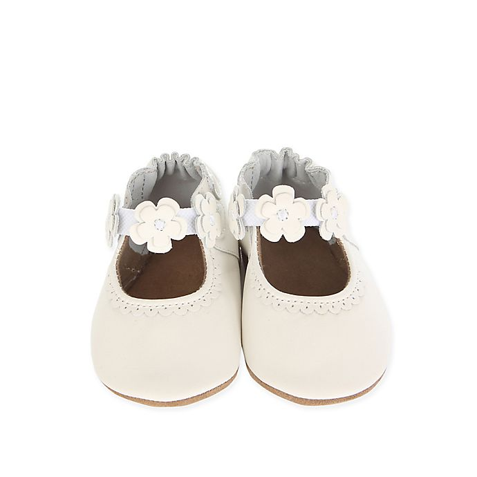 Alternate image 1 for Robeez Size 6-12M Claire Mary Jane Shoe in White