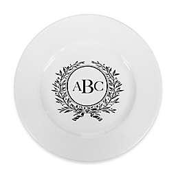 93 West Maison Rimmed Dinner Plate in White/Black Laurel