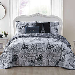 Amour Reversible King Quilt Set in Black/White
