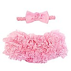 So'dorable Headband and Ruffled Diaper Cover Set in Light Pink