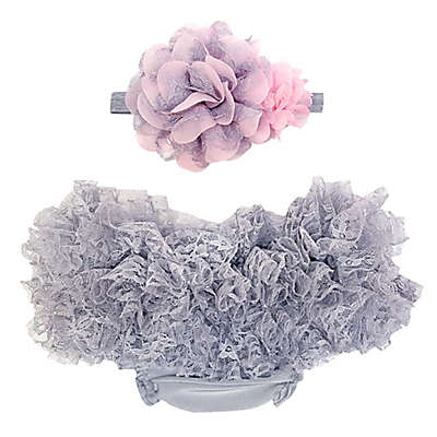 So'dorable Headband and Ruffled Diaper Cover Set in Grey