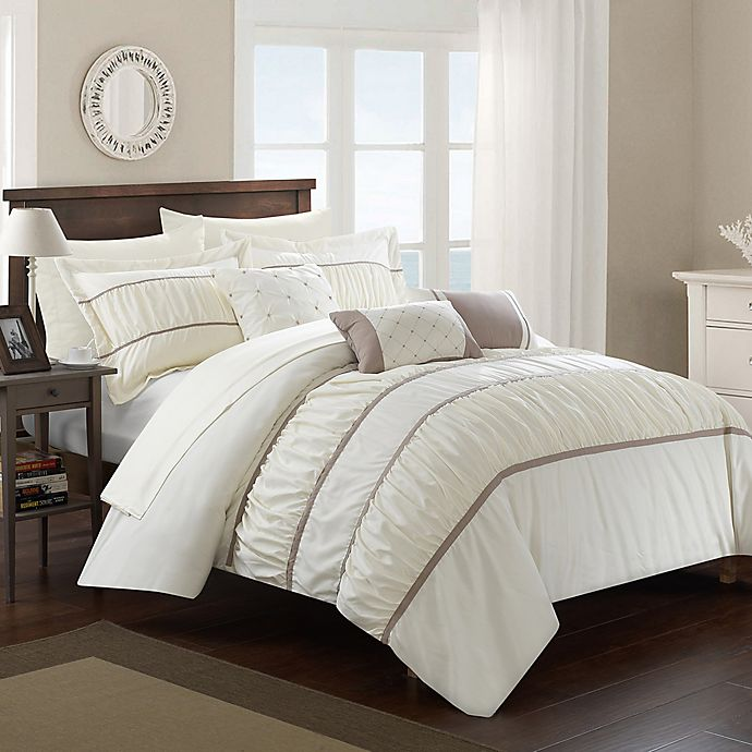 Alternate image 1 for Chic Home Aero 10-Piece King Comforter Set in Beige