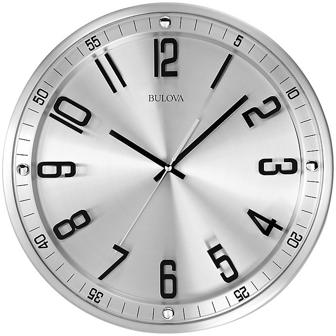 bulova silhouette stainless steel wall clock bed bath beyond. Black Bedroom Furniture Sets. Home Design Ideas