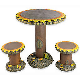 3-Piece Plastic Sunflower Table and Chair Set