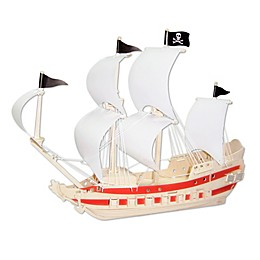 Puzzled 139-Piece Pirate Ship Natural Wood Puzzle