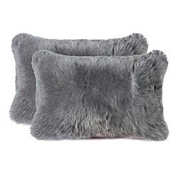 Nelson Rectangle Sheepskin Throw Pillows (Set of 2)