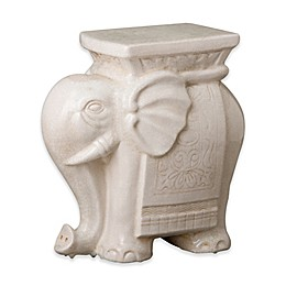 Emissary 17.5-Inch Elephant Garden Stool/Table in White