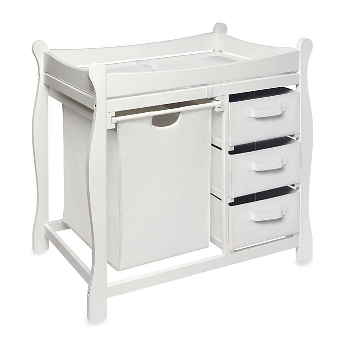 Alternate image 1 for Badger Basket Sleigh Changing Table with Hamper and 3 Baskets