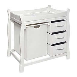 Badger Basket Sleigh Changing Table with Hamper and 3 Baskets in White