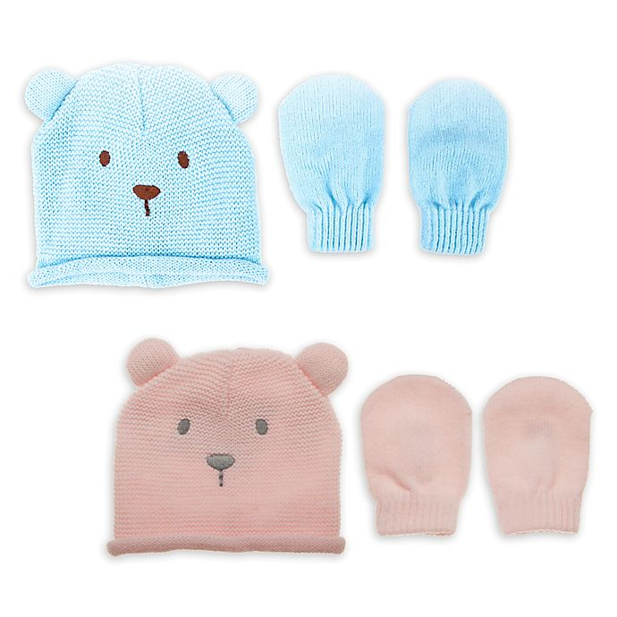 Alternate image 1 for Little Me® Newborn 2-Piece Acrylic Bear Hat with Mittens
