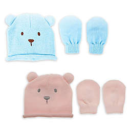Little Me® Newborn 2-Piece Acrylic Bear Hat with Mittens