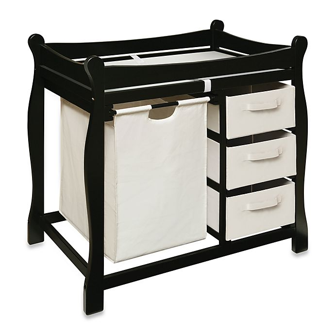 Alternate image 1 for Badger Basket Sleigh Changing Table with Hamper and 3 Baskets in Black