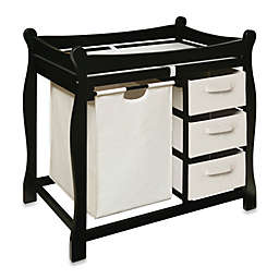 Badger Basket Sleigh Changing Table with Hamper and 3 Baskets in Black