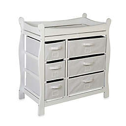 Badger Basket Sleigh Changing Table with 6 Baskets in White