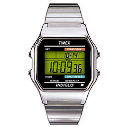 Timex® Men's 34mm Classic Digital Dress Watch with Stainless Steel Expansion Band