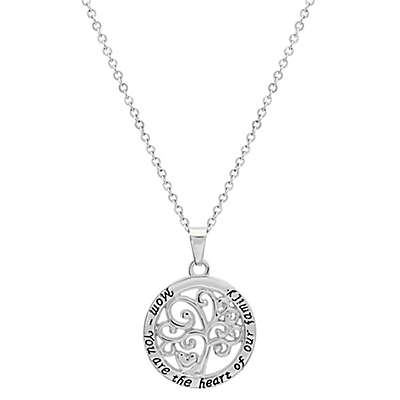 "Piatella™ Stainless Steel ""Mom - You Are the Heart of Our Family"" Tree of Life Pendant Necklace"