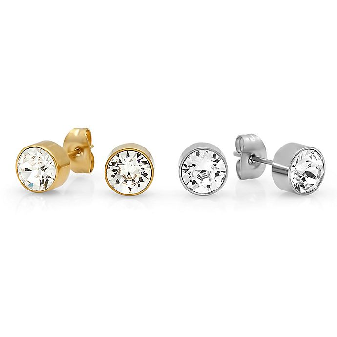 3b7b32af0 Piatella™ Stainless Steel and 18K Gold-Plated Round Swarovski Crystal Stud  Earring (Set of 2)