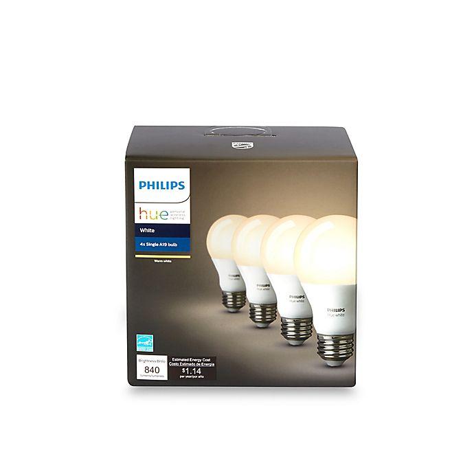 Alternate image 1 for Philips Hue 4-Pack 60-Watt Equivalent A19 Smart LED Light Bulbs