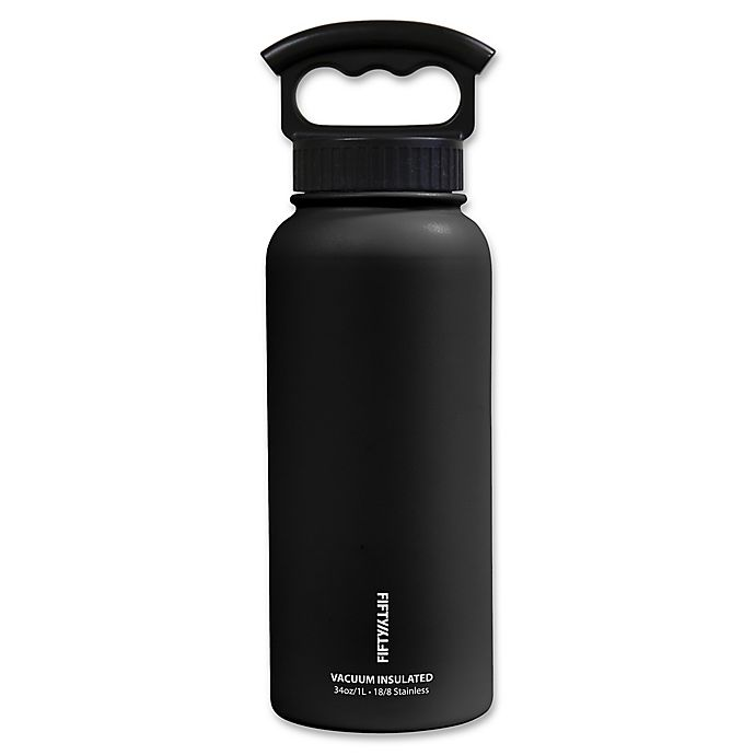 Alternate image 1 for FIFTY/FIFTY 34 oz. Vacuum-Insulated 3-Finger Lid Water Bottle