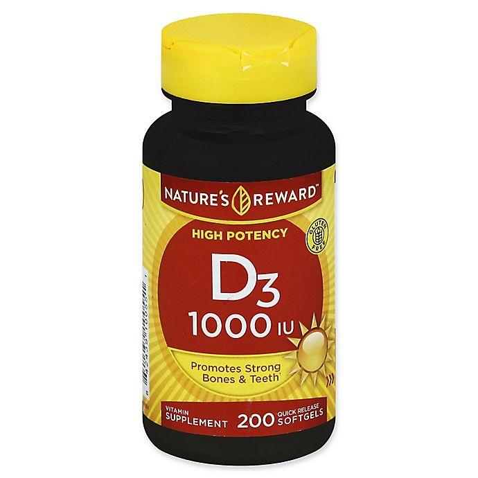 Alternate image 1 for Nature's Reward 200-Count 1000 IU Vitamin D3 Quick Release Softgels