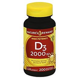 Nature's Reward 200-Count High Potency 2000 IU Vitamin D3 Quick Release Softgels