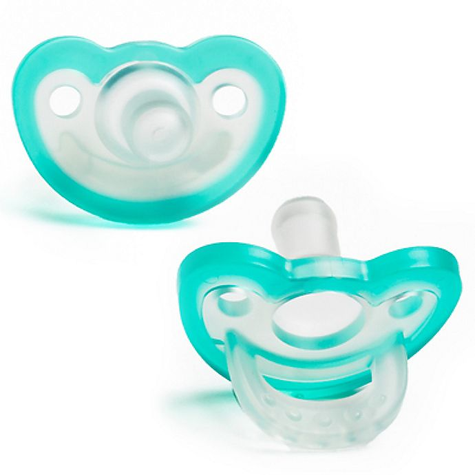 Alternate image 1 for RaZbaby JollyPop 3M+ 2-Pack Silicone Pacifiers in Blue