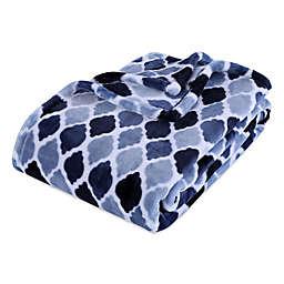 Moroccan Tile VelvetLoft Throw Blanket in Navy