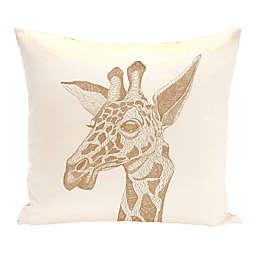E by Design La Jirafa Animal Print Square Throw Pillow in Off White