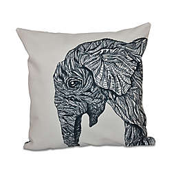 E by Design El Elfante Animal Print Square Throw Pillow in Black