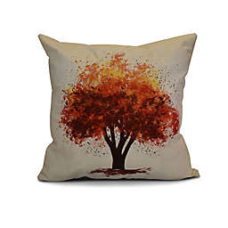 E by Design Fall Bounty Floral Print Square Throw Pillow in Brown