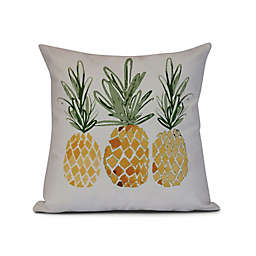 Geometric 3 Pineapples Square Throw Pillow in Gold