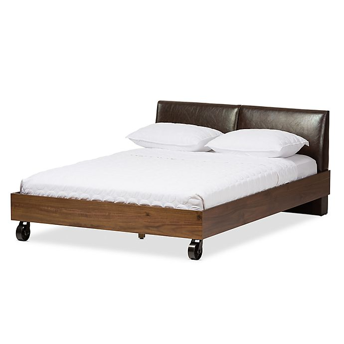 Alternate image 1 for Baxton Studio Brooke Wood Platform Queen Bed with Faux Leather Headboard in Dark Brown