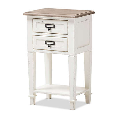 Baxton Studio 2-Drawer Weathered Nightstand in Oak/White
