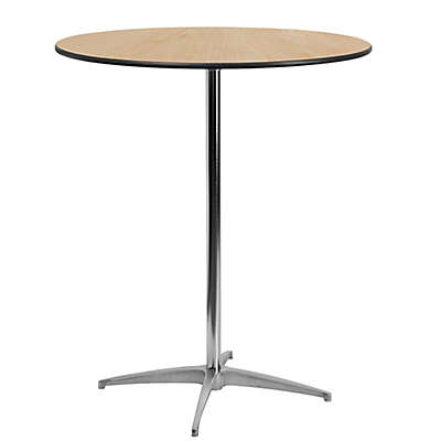 Flash Furniture Height-Adjustable Round Cocktail Table in Natural