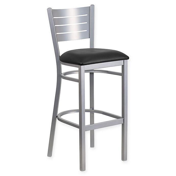 Flash Furniture Slat Back 43 5 Inch Silver Metal Stool