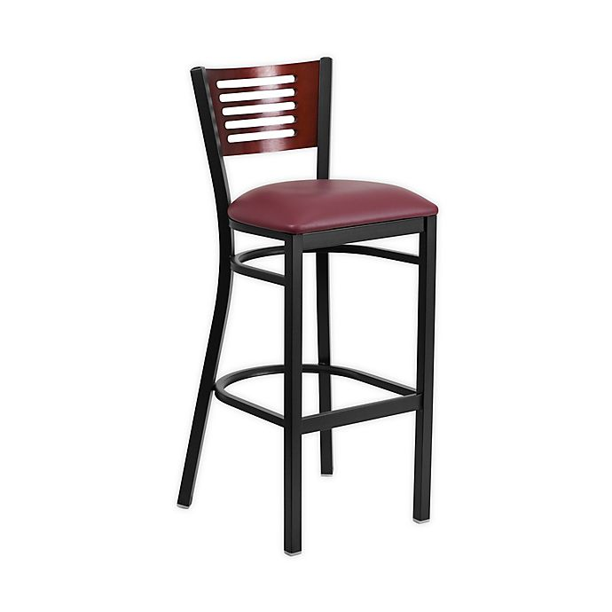 Alternate image 1 for Flash Furniture Slat Back 43-Inch Metal Stools with Burgundy Vinyl Seats in Mahogany