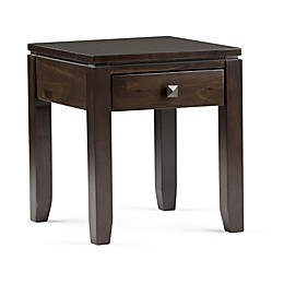 Simpli Home Cosmopolitan End Side Table in Coffee Brown