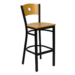 Flash Furniture Circle Back 42.5-Inch Metal and Natural Wood Stool