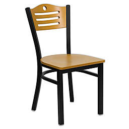 Flash Furniture Slat Back 32.75-Inch Metal and Natural Wood Chair