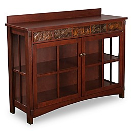 Southern Enterprises Camino Mission Faux Slate Sideboard and Display Curio in Espresso